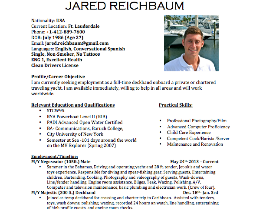 how to write a yachting resume the entire planet